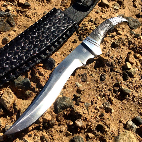 "12"" Defender Xtreme Hunting Knife with Black Eagle Head Handle and Leather Sheath"