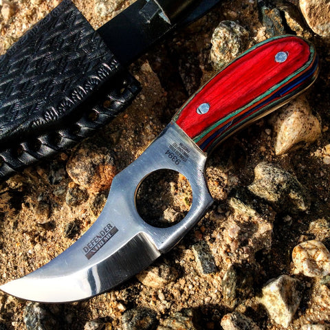 "6"" Defender Xtreme Skinner Knife with Multi-Color Handle and Leather Sheath"