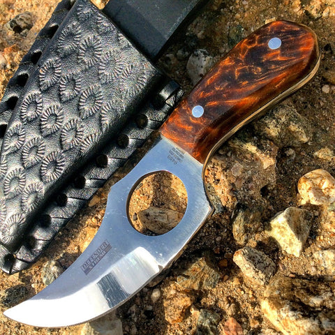 "5.5"" Defender Xtreme Full-Tang Skinner Knife with Brown Marble Handle"