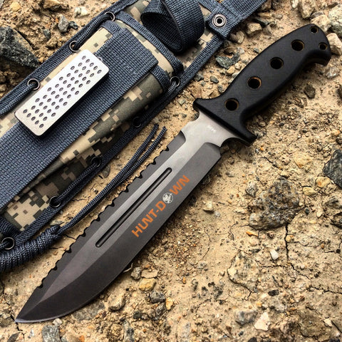 "13.5"" Huntdown Outdoorsman Survival Knife with Digital Camo Sheath"