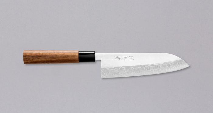 "Etsu Village Semi-Damascus Santoku Wa 170mm (6.7"")"