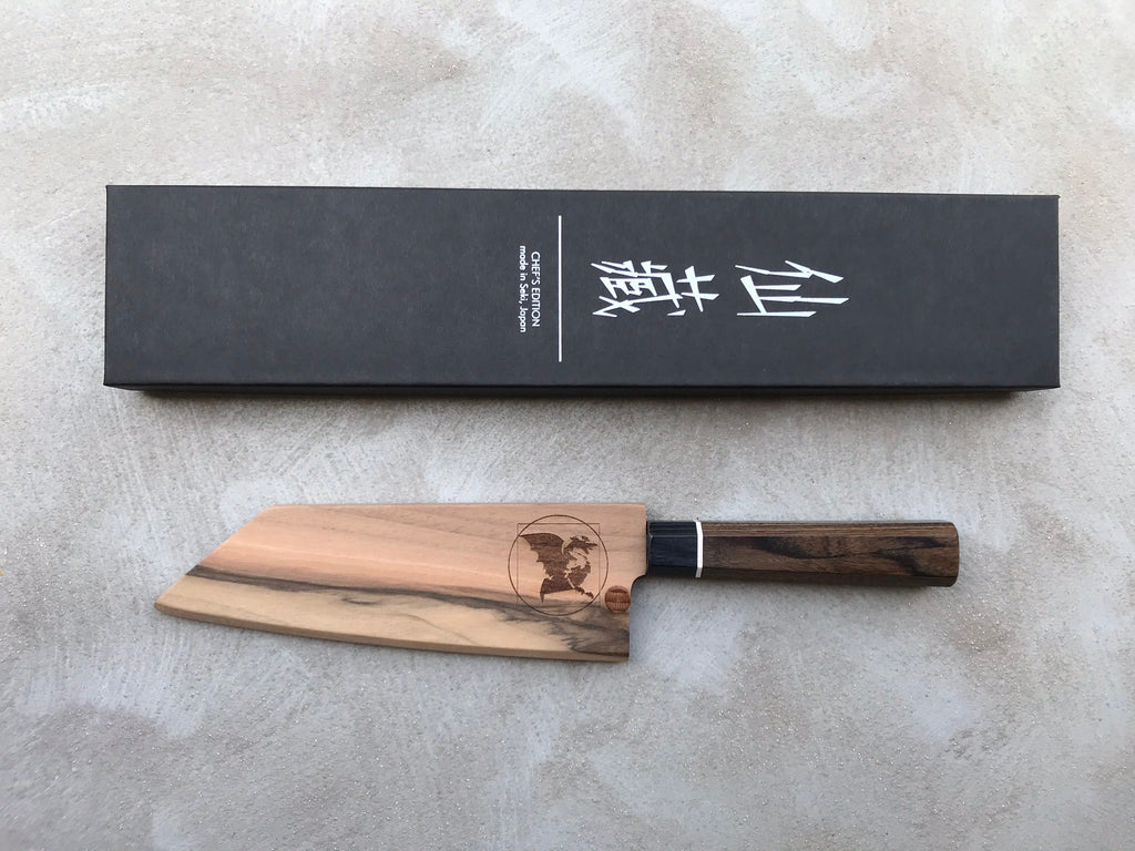 "Bunka Black Damascus 165mm (6.5"") [Saya Included]"
