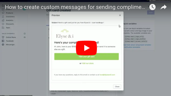 How to create custom messages for sending complimentary Shopify gift cards