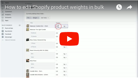 How to edit Shopify product weights in bulk