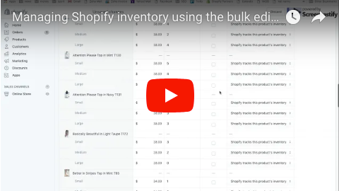 Managing Shopify inventory using the bulk editor
