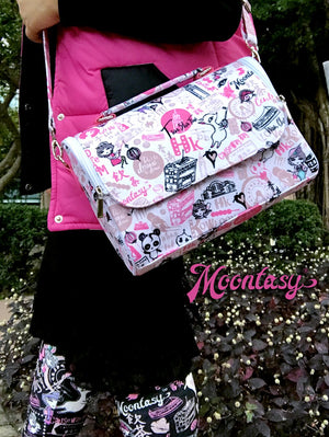 Hong Kong Pattern Satchel Shoulder Bag (Pink)