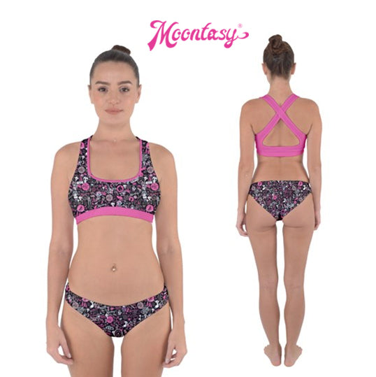 Cross Back Hipster Bikini Set - Hong Kong Pattern (Black)