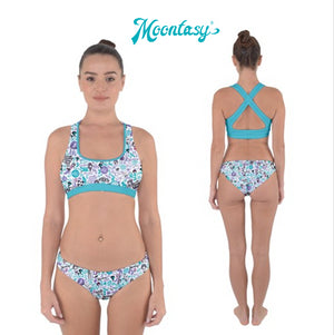 Cross Back Hipster Bikini Set - Hong Kong Pattern (White)