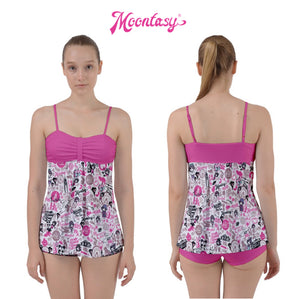 Babydoll Tankini Set - Hong Kong Pattern (White)