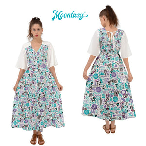 Kimono Sleeves Boho Long Dress - Hong Kong Pattern (White) 中袖長裙 - 香港(白)
