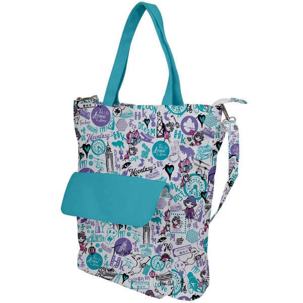 Hong Kong Pattern Shoulder Tote Bag (Blue)