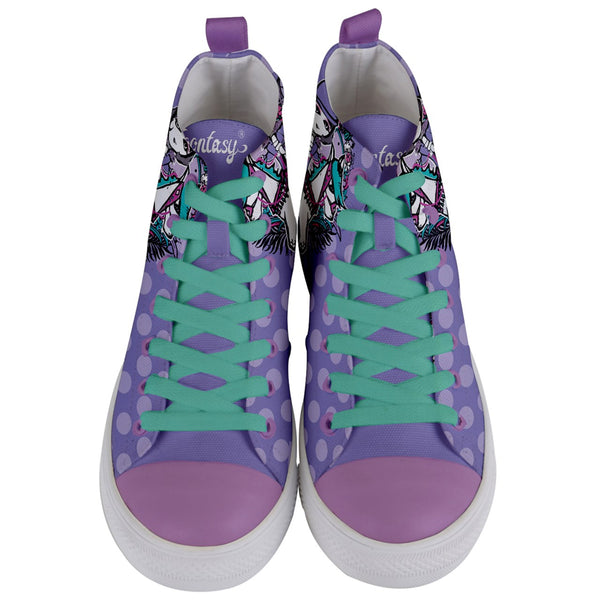 Riding Horse Mid-Top Canvas Sneakers (Women-Purple)