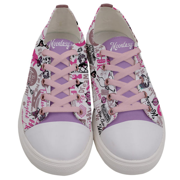 Hong Kong Pattern Low Top Canvas Sneakers (Women- Pink)