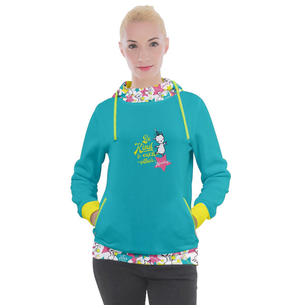 Women's Hooded Pullover-MK star-Blue