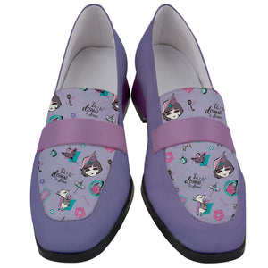 Classic France Chunky Heel Loafers (Women-purple)