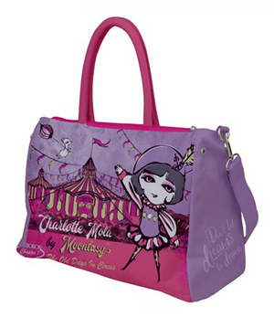 Duffel Travel Bag- Old days in circus-charlotte (purple)