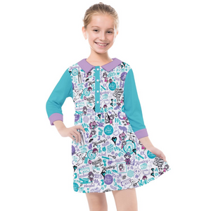 KIDS' QUARTER SLEEVE SHIRT DRESS_HKpattern_Blue