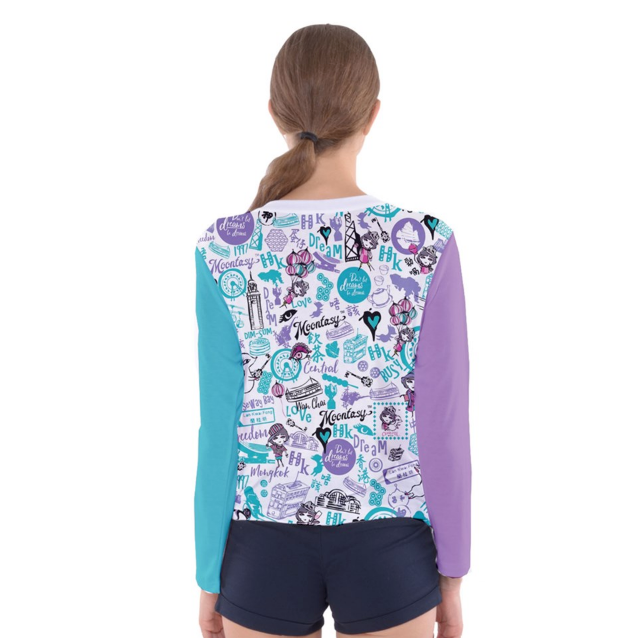 WOMEN'S LONG SLEEVE TEE-HONG KONG PATTERN (blue)
