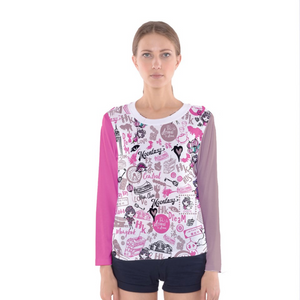 WOMEN'S LONG SLEEVE TEE-HONG KONG PATTERN (pink)