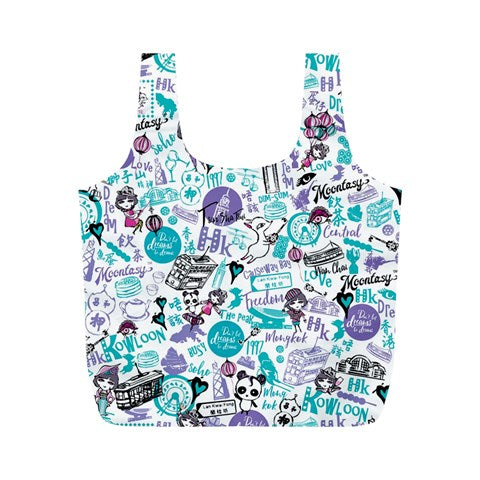 Hong Kong Pattern Full Print Recycle Bag (M)-Blue