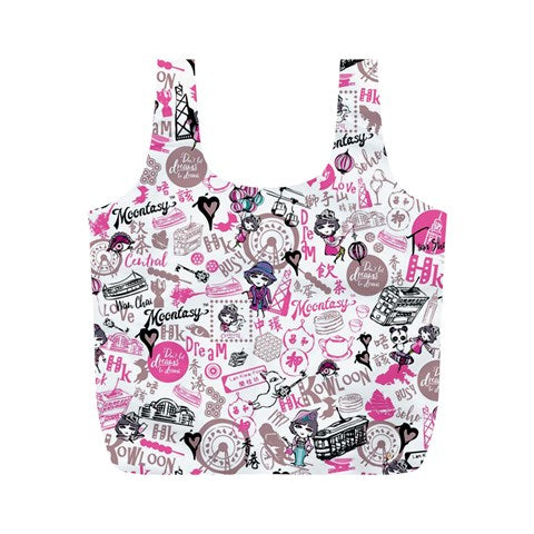 Hong Kong Pattern Full Print Recycle Bag (M)-pink