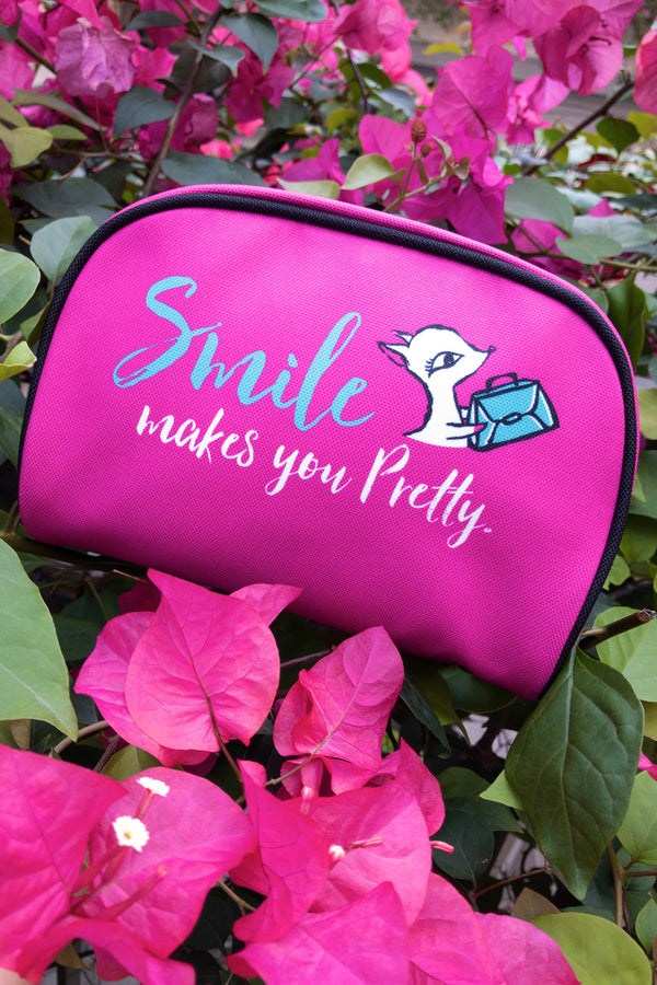 MAKEUP CASE (SMALL)/ SMILE MAKE YOU BEAUTY/HOT PINK 化妝雜物袋 (可印名)