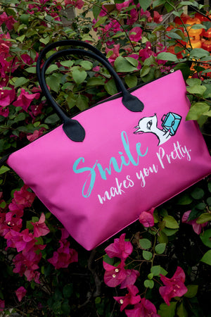 CANVAS SHOULDER BAG/ Smile sMILE MAKES YOU PRETTY(hot pink 帆布單肩袋