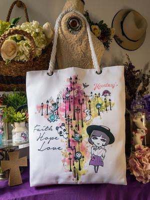 Faith Hope Love Rope Handle Tote (Large)