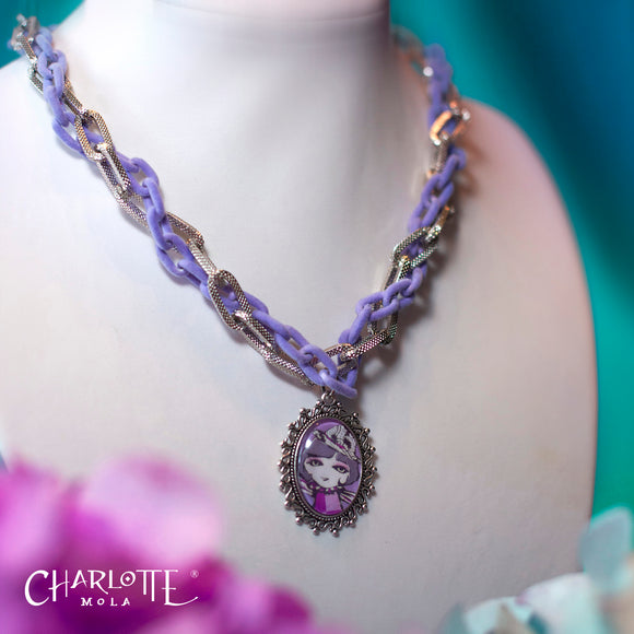 Purple Frosted Short Necklace 紫色磨沙手製短項鍊