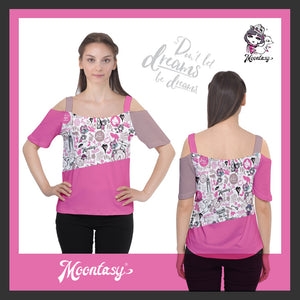 Women's Cutout Shoulder Tee - Hong Kong Pattern (Pink)