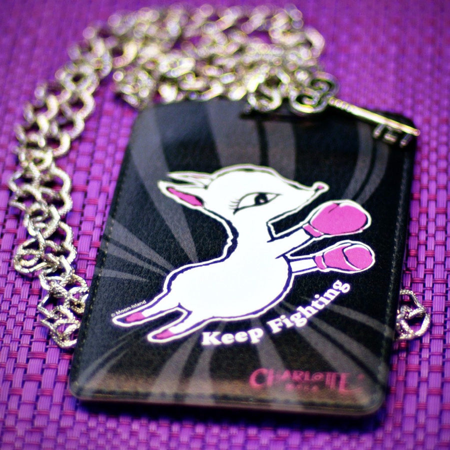 "Card Holder Necklace - Moonkii ""Keep Fighting""  時尚頸鏈證件套 - 夢奇 ""Keep Fighting"""