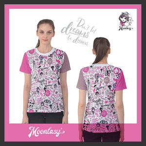 WOMEN'S COTTON TEE-HONG KONG PATTERN (pink)