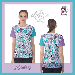 WOMEN'S COTTON TEE-HONG KONG PATTERN (Blue)