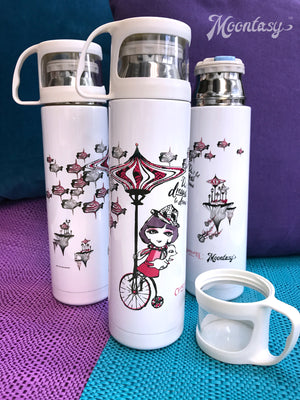 Thermal Bottle with Cup - Charlotte Riding Bicycles 保溫瓶(連小杯) - 莎樂單車樂