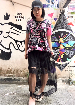 WOMEN'S COTTON TEE-HONG KONG PATTERN (BLACK)