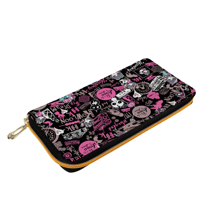Hong Kong Pattern Zipper Purse (Black)