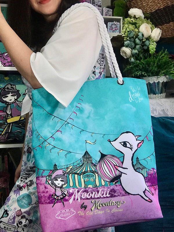 Circus and Moonkii Rope Handle Tote (Large)