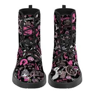 Hong Kong Pattern Vegan Leather Boots (Black)