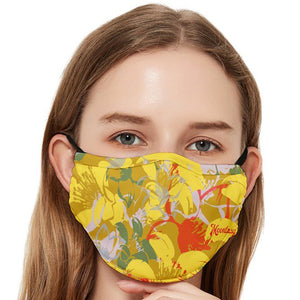 Heroflower yellow pattern Fitted Cloth Face Mask (Adult)