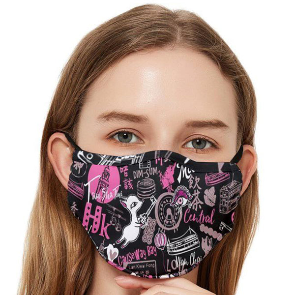 Fitted Cloth Face Mask (Adult)-HKpattern(Moonkii)