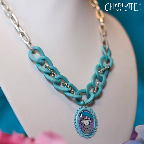 Blue Frosted Short Necklace 湖水藍磨沙手製短項鍊