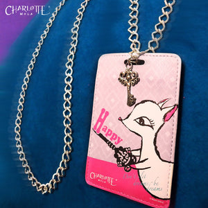 "Card Holder Necklace - Moonkii ""Happy""  時尚頸鏈證件套 - 夢奇 ""Happy"""