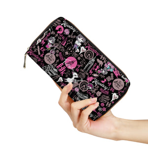 Hong Kong Pattern Black Zipper Purse Clutch Bag