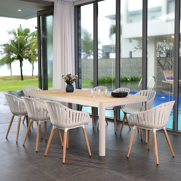 8 Seater Portals Dining Set - Light