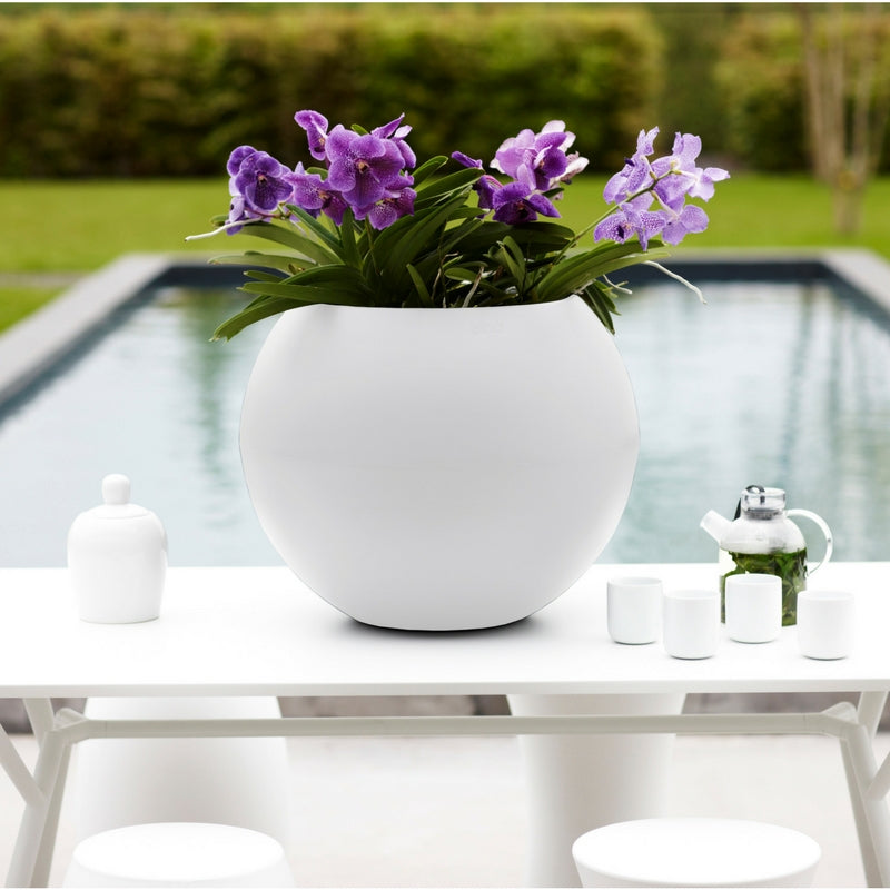 round ball planter by elho in white