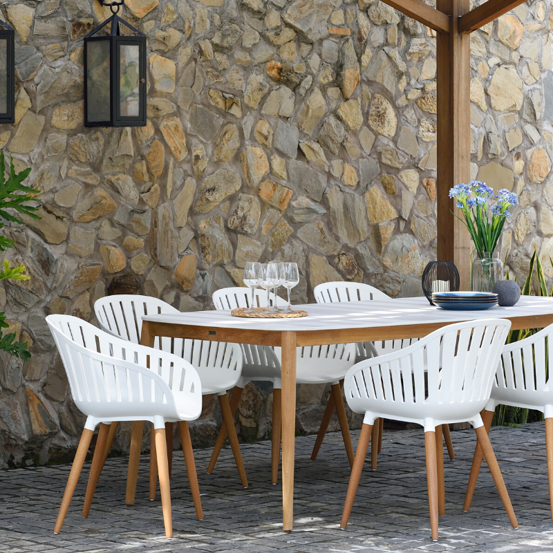 Set of 6 Cannes Dining Chairs - White