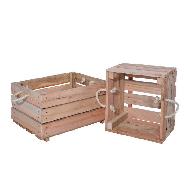 Set of 2: Wooden Planters