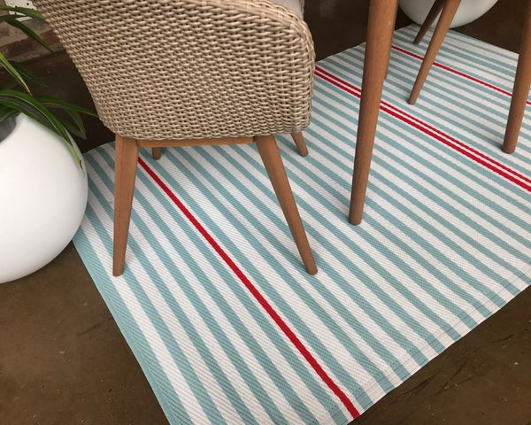 outdoor rug: mint green stripes