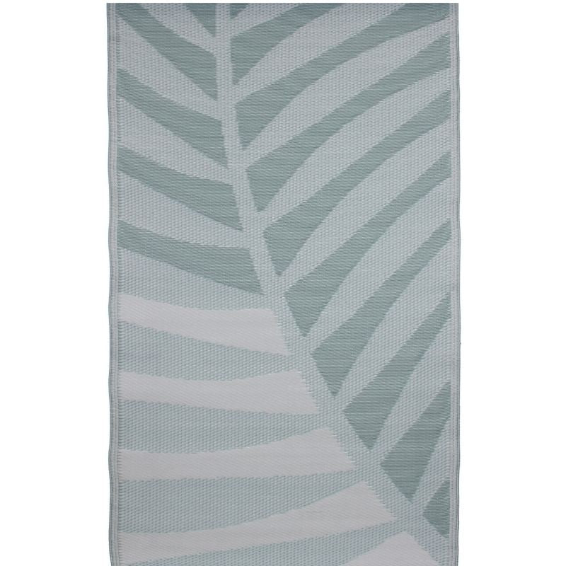 outdoor rug: mint green palm