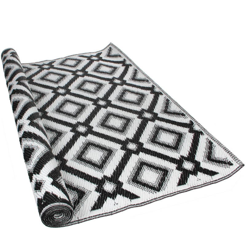 outdoor rug: Geometric Black